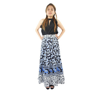 Shopmore Black And White With Blue Printed Full Wraparound Skirt