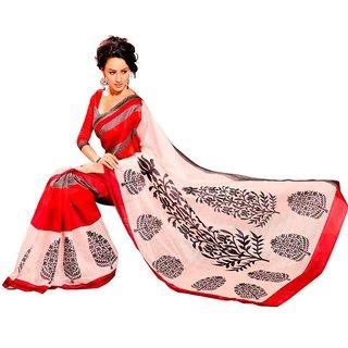 Vipul Multicolor Art Silk Printed Saree With Blouse