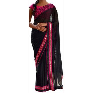Black Georgette Designer Saree With Raw Silk Blouse