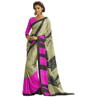Vipul Multicolor Satin Printed Saree With Blouse