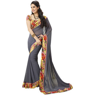 Vipul Multicolor Georgette Lace Saree With Blouse