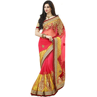 Vipul heavy embroidered blouse with Red Yellow Art silk Saree