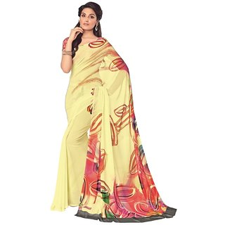 Vipul Multicolor Georgette Printed Saree With Blouse