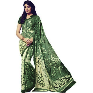 Vipul Multicolor Crepe Printed Saree With Blouse