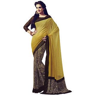 Vipul Multicolor Satin Printed Saree With Blouse