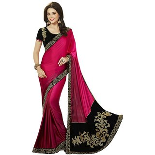 Vipul Multicolor Satin Embroidered Saree With Blouse