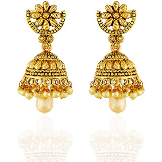 One Stop Fashion Classy Designer Gold Plated with a Pearl drop Alloy Jhumka for Girls  Women