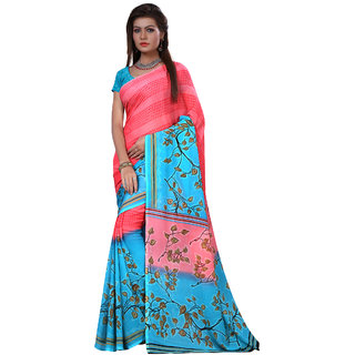 Ambaji Multicolor Georgette Printed Saree With Blouse