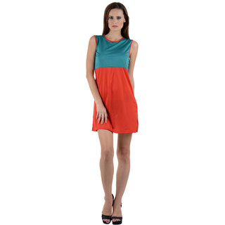 Turq-Red Viscose Round Neck  Dress