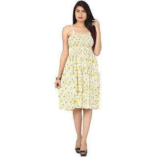 White-Yellow Cotton Round Neck  Dress