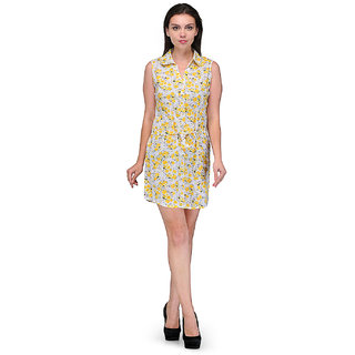 White-Yellow Cotton Round Neck  Dress