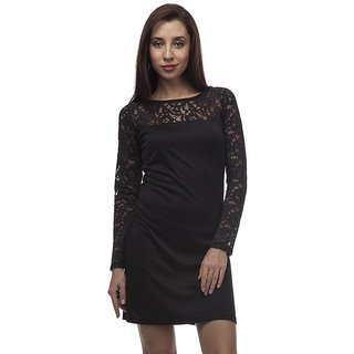 Black Viscose Round Neck  Dress