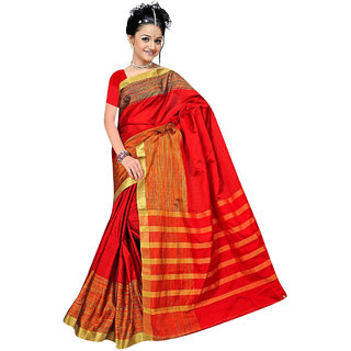 Fabplus Red Silk Printed Saree With Blouse