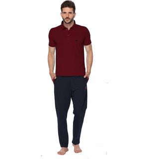 ONN Maroon Polo Neck Half Sleeve Mens Tshirt