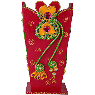 Jaipuri Haat Hand Crafted Wooden Yellow Flower Base in Royal Kundan Minakari Cone Work