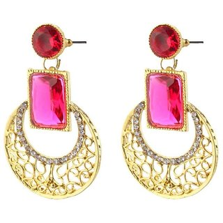 Swell Biyu Cubiz Zirconia Studded Pink Coloured Earrings