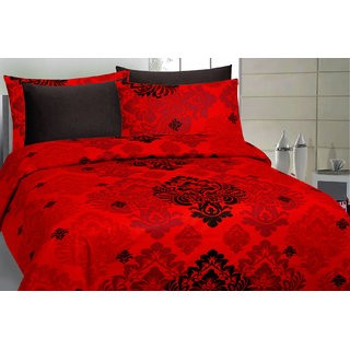 DIVINE CASA Cotton Double Bed sheet with 2 Pillow Cover Multicolor 145 TC