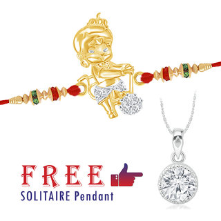 VK Jewels  Bal Hanuman  Solitaire Pendant Gold and Rhodium Plated Alloy Rakhi- RAKHI1090G VKRAKHI1090G