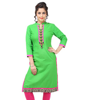 TAG SEVEN Elegant Light Green Plain/Solid Regular Fit Straight Kurti