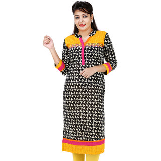 TAG SEVEN Beautiful Black Printed Regular Fit Straight Kurti