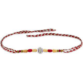 482e07a0a03ec Taraash 925 Sterling Silver One Ball with Wooden Beads Thread Rakhi  BRR0397S BRR0397S