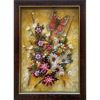 Beutiful Butterfly on Quill Flowers in Frame