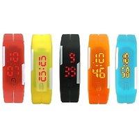 star Pack of 5 Led Digital Watch - For Boys, Men, Girls, Women