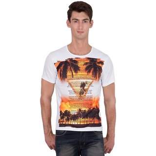 XSCAPE Mens Round Neck Printed Regular Fit T shirt