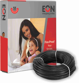 Eon 1.5 Sq mm Fire Proof FR-PVC Insulated 90 Meter Electric Wire/Cable 1100V (Black)