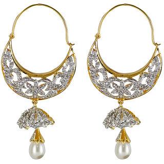 DAZZLE ME Designer American Diamond and Peqarl White Earring For Women (ER0115)