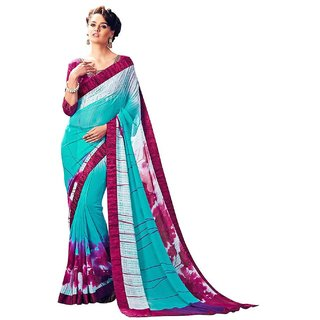 Sky Blue Colored Georgette Printed Saree For Women