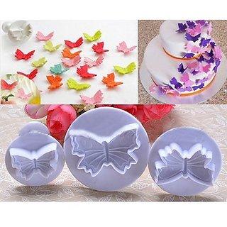 Futaba 3 PCS Butterfly Cake Cutter Sugar Craft Tool