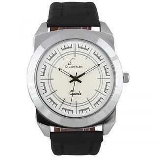 Jack Klein Round Dial Black Leather Strap Elegant Analog Wrist Watches For Men