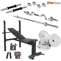 LiveStrong 40 kg chrome steel plates  home gym combo 5