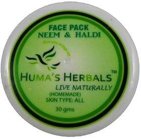 Humas Herbals Home Made Natural Face Pack - Neem  Haldi (30 gms)