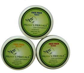 Humas Herbals Home Made Natural Face Pack Rose, Neem, Mint (30 gms each)