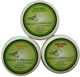 Humas Herbals Home Made Natural Face Pack Rose, Neem, Manjishtha (30 gms each)