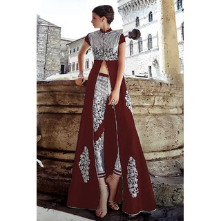 Thankar Maroon  Silver Embroidered Banglori Silk Anarkali Suit