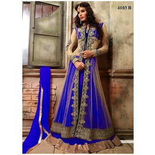 Thankar Beige  Blue Embroidered Net Anarkali Suit