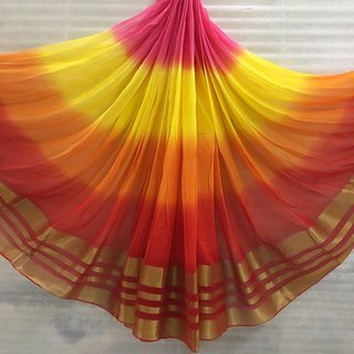 Georgette Multi Colour Saree With Zari Line Border