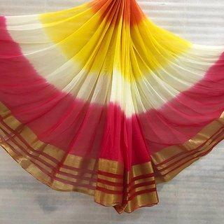 Georgette Multi Colour Saree With Zari Line Border