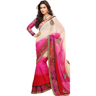 Vachya Shaded Red, Pink and Beige Embroidered saree 9941