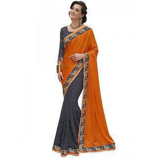 Orange and Grey Party Wear Saree