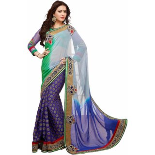 Vachya Shaded Blue and Green Georgette, Jacquard Embroidered sarees 9932