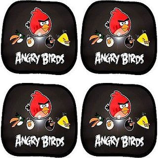 Set of 2 Pair- Printed Car Window Sun Shade Sunshade..Angry bird mesh