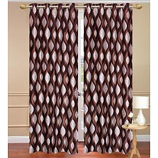 Brown Door Set Of 2 Pcs (4X7 Feet) - Eyelet Polyester Curtain