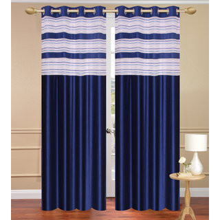 Cursh Blue Long Door Set Of 2 Pcs (4X9 Feet) - Eyelet Polyester Curtain