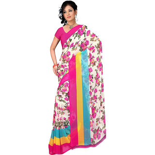 MD Saree Multicolor Georgette Printed Saree With Blouse