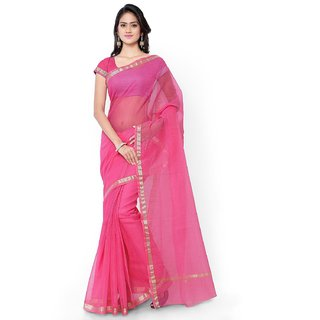 Dulhan Sarees  Ethnic Wear Pink Colour Cotton Saree with Zari Border