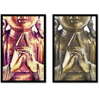 Budha Yoga Mudra MATT Black Framed Painting Set Of 2 By Dreamzdecor 9x 14